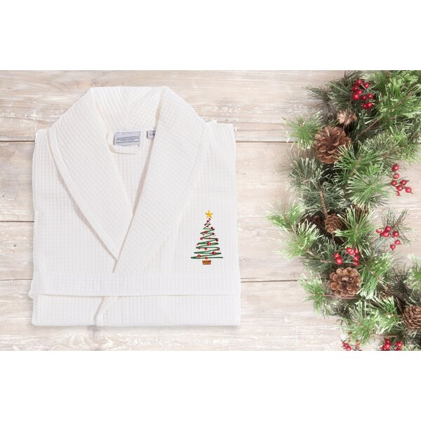 Tree Weave Embroidered 100% Turkish Cotton Waffle Bathrobe by The Holiday Aisle